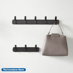 This metal wall-mounted hook rack is an easy organizer that makes the most of your space. Rugged enough for a closet or bath, its sleek good looks fit effortlessly in an entryway or hall. Each hook gives you two hanging points for twice the capacity. Stylish steel construction makes this wall rack dependable. Entryway Organization, Hook Rack, Wall Racks, Metal Walls, Houses, Entry Organization
