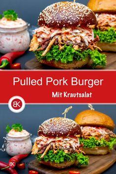 Pulled Pork Burger, Pork Burgers, Gourmet Burgers, Bbq Pork, Salmon Burgers, Pulled Pork Recipe Slow Cooker, Slow Cooker Tacos, Crazy Burger, Beetroot Burgers