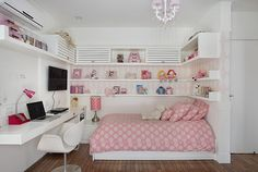 Girl Bedroom Decor Ideas Ideas For Decorating a Girls Bedroom Girl Bedroom Decor Ideas. Girls usually like their bedrooms to be fun and cute. While furnishing and decorating a girls room you must t… Small Room Bedroom, Trendy Bedroom, Small Rooms, Home Bedroom, Girls Bedroom, Bedroom Office, Bed Room, Kids Rooms, Home Office