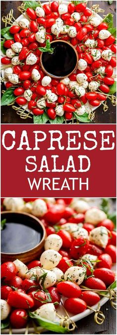 Caprese Salad Christmas Wreath is a festive and healthy appetiser for your Chris. Caprese Salad Christmas Wreath is a festive and healthy appetiser for your Christmas table! Christmas Party Food, Christmas Brunch, Xmas Food, Christmas Appetizers, Christmas Wreaths, Horderves Christmas, Christmas Entertaining, Christmas Cocktails, Healthy Appetizers