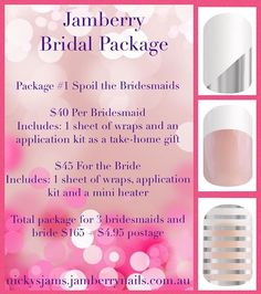 Are you getting married?? Or know someone who is? Check out these amazing Jamberry nail packages that will leave the bride and the bridal party feeling pampered from their fingers to their toes! For 2016 only. Only available from Nicole Peterson- Independent Jamberry Consultant Http://nickysjams.jamberrynails.com.au #nickysjams #jamberrynailwraps #jamberrywedding #wedding2016 #weddingnails #nailart #bridalbeauty #bridesmaidgift