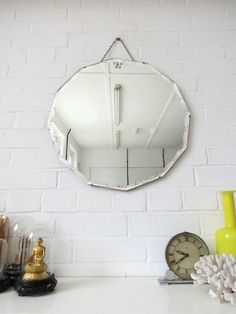 Vintage Large Round Art Deco Bevelled Edge Wall Mirror by uulipolli