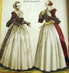 Ladies of Augsburg, c. 1726  Albrecht Schmidt  Wide collar on left and red cap on right lady are reminiscent of 17th century dress. The black three-tipped cap can be found throughout Southern Germany and Austria.