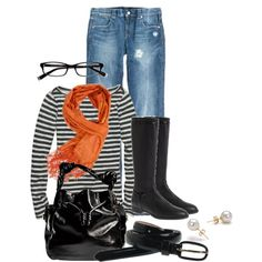 I love the striped shirt and the rider boots! I do best in shoes with no heel.
