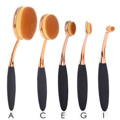Face Oval Makeup Brush Foundation BB Cream Flawless Base Powder Puff Blusher Cosmetic Beauty Toothbrush Shaped Curve Brushes Set