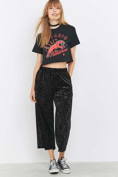 Light Before Dark Crushed Velvet Culottes - Urban Outfitters