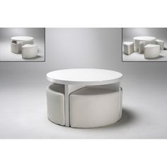 Round Gloss White Coffee Table + 4 Stools, 5075-11.11 - Wooden Coffee Table, Storage, Oak, Furnitureinfashion UK