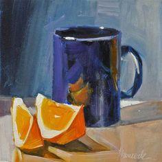 """Blue Cup and Two orange Slices"" - Original Fine Art for Sale - © Gretchen Hancock"