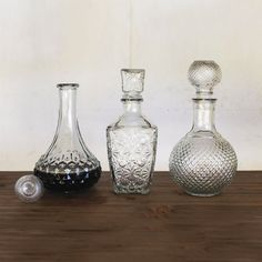 Set out a full array of drinks the fabulously old-fashioned way with these remarkable glass decanters.