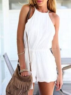 White Cut Away Tie Waist Strappy Back Backless Romper Playsuit