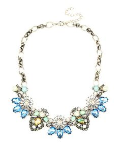 Light Blue Crystal & Silvertone Aisha Bib Necklace