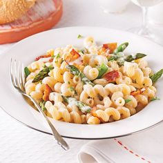 Tortiglionis aux asperges et bacon, sauce béarnaise - 5 ingredients 15 minutes Sauce Béarnaise, Bearnaise Sauce, Confort Food, Pasta, Tortellini, Bacon, Macaroni And Cheese, Healthy Eating, Favorite Recipes