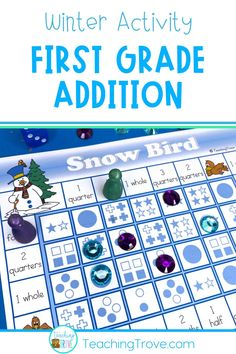 Seven math games covering addition, subtraction, time and fractions are included in this pack - all with a winter theme. Each game is common core aligned. Keep your first grade students engaged with these winter math activities.