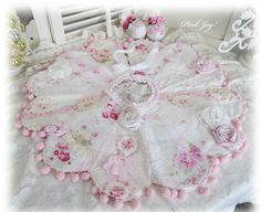 Stunning Table Top Christmas Tree Skirt In Pinks And Roses Only At The Ruffled Rose