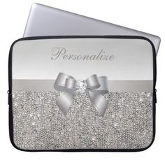 Silver Sequins, Bow & Diamond Personalized Computer Sleeve