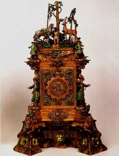 Antique clock with incredible detail featuring a woodland scene