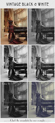 DE PAGO 5 Vintage Black & White Actions - GraphicRiver Item for Sale