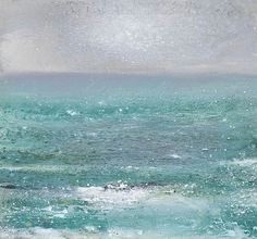 Kurt Jackson - A cormorant flies through a green sea, the high tide moves the cove