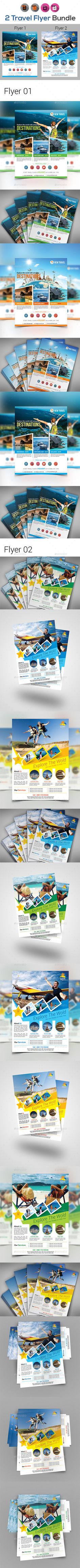 Holiday Tour & Travel Flyer Bundle - Templates Vector EPS, InDesign INDD, AI Illustrator
