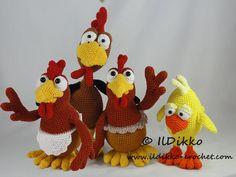 Poultry Family Amigurumi Crochet Pattern Set by IlDikko on Etsy
