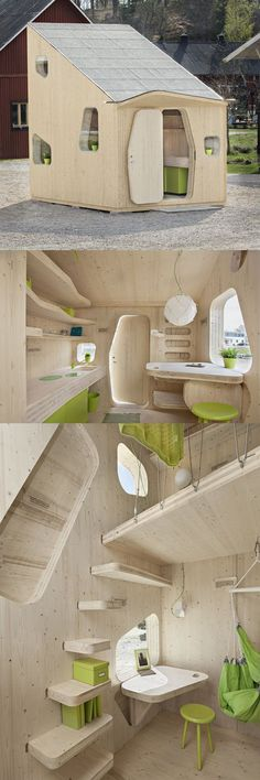 Architecture - Innovation & Design - A student flat of only 10 square meters is currently exhibited at the Virserum Art Museum in the county Småland, Sweden. Tree Tent, Best Tiny House, Exterior, Tiny Spaces, Tiny House Design, Little Houses, Play Houses, Future House, Architecture Design