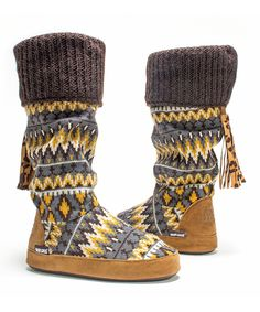So Cute!!!! Really Loving the colors on these Brown Winona Slipper Boot - Women on #zulily! #zulilyfind
