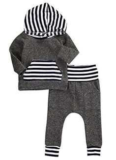 Newborn Baby Boy Girl Warm Hoodie Tshirt Top  Pants Outfits Set Kids Clothes * Find out more about the great product at the image link.