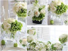 会場装花イメージ:ホワイト×グリーン,バラ