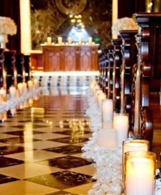 wedding aisle ideas | victorian wedding theme_ elegant church candle aisle decorations