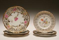 Six hand painted floral and gilt plates, Haviland, Limoges Drop Rose etc.
