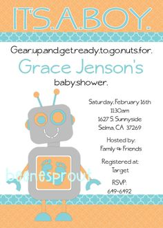 Robot Baby Shower Invitation by beenesprout on Etsy, $12.50