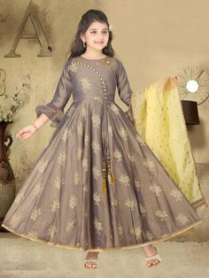 Buy 1 to 16 year Kids Salwar Kameez Online. Shop Online salwar kameez for kids in Dhoti, Palazzo, Anarkali style. Frocks For Girls, Gowns For Girls, Dresses Kids Girl, Kids Frocks Design, Baby Frocks Designs, Long Dress Design, Silk Anarkali Suits, Wedding Dresses For Kids, Kids Dress Patterns
