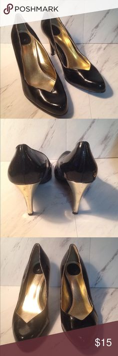 "Black Patent Heels Size 9 W. brand logo pictured above, I just don't know the name of it. Good pair of staple heels, but may need a quick polish or shine. 3.5"" heel. torrid Shoes Heels"