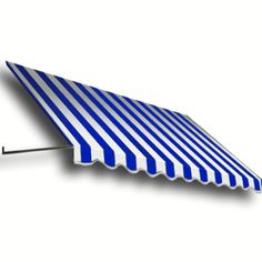Awntech 76.5-In Wide X 48-In Projection Bright Blue/White Stripe Open