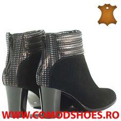 Poze Botine dama piele naturala LILI negru velur  + auriu Booty, Shoes, Fashion, Moda, Swag, Zapatos, Shoes Outlet, Fashion Styles, Shoe