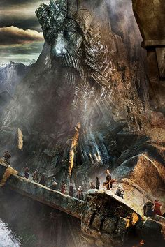 Erebor, climbing the staircase to the hidden door way that will appear on the last light of Durin's day.