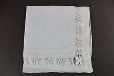 White Drawn Work  Bridal Vintage Handkerchief H-115 by EBMNewhaven on Etsy