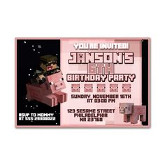 Minecraft Pig Design Kids Birthday Invitation Party Design
