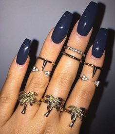 Dark Blue Nails with rings   #nails