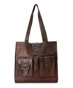 Look what I found on #zulily! Walnut Pocket Botanical Tooled Leather Tote by Leaders in Leather #zulilyfinds