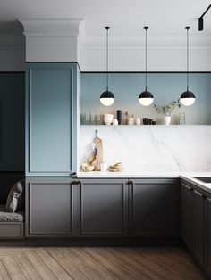 Kitchen interior - modern and modular design. Used white Marble and the combination of beige and grey shade can light up the area . Modern Farmhouse Kitchens, Farmhouse Kitchen Decor, Home Kitchens, Interior Design Kitchen, Home Design, Interior Modern, Kitchen Dinning, Cuisines Design, Kitchen Colors