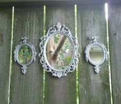 Oval Wall Mirror Set - Vintage Brass Frames in Shiny Silver on Etsy, Sold