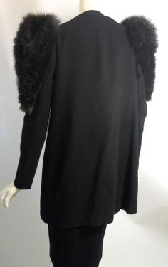 Glam Deep Brown Fur Trimmed Black Wool Dress Coat circa 1930s - Dorothea's Closet Vintage