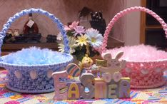 Macrame Easter Basket  pink or blue by CountryGooseBoutique, $35.00