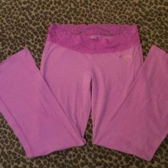 PINK pajama pants Soft cozy stretch pants with lace waist, great condition PINK Victoria's Secret Intimates & Sleepwear Pajamas
