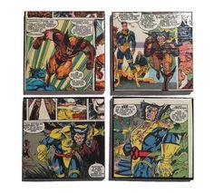 Wolverine Coasters / Comic Book Ceramic Tiles  by NoPlaceLikeNerd, $16.00