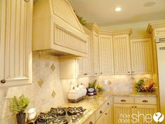 """Room by Room Decorating Secrets - The Kitchen! Includes tips for decorating above cabinets, counter tops, etc...""""less is more"""" in a kitchen."""