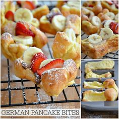 Easy Recipes - German Pancake Bites - this is the perfect way to enjoy German Pancakes for a crowd (or a hungry, impatient family)! Breakfast Dishes, Breakfast Recipes, Breakfast Ideas, Breakfast Platter, Pancake Breakfast, Second Breakfast, Pancake Recipes, Crepes, Brunch Recipes