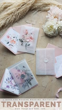 3 modern ideas for invitations - transparent!  #transparentwedding #transperentinvitations #modernweddinginvitaitons #blushwedding #summerwedding #romanticwedding