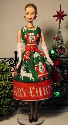OOAK Barbie dress made from vintage Tammis Keefe Christmas hankie by Sylvia Bittner